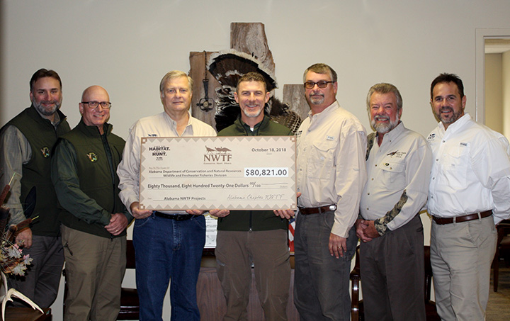 Photo (left to right): Chuck Sykes (WFF Director), Steve Barnett (Wild Turkey Project Leader), Craig Scruggs (Alabama NWTF State Chapter President), Keith Gauldin (Wildlife Section Chief), and Executive Committee members of the Alabama Chapter NWTF Board of Directors Craig Harris, Charlie Duckett, and Scott Brandon.