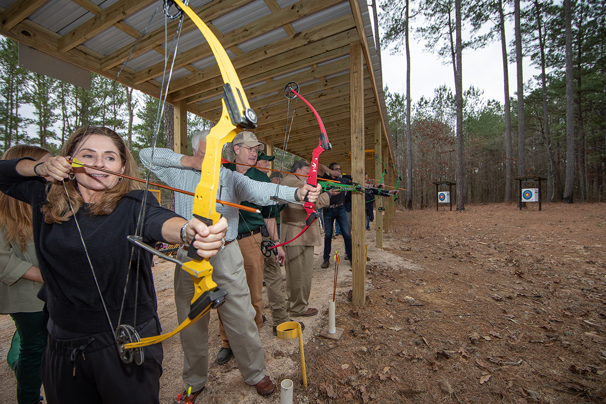 First arrows fly at the Walker County Community Archery Park on Wednesday, February 6, 2019 --Photo by Billy Pope, ADCNR.