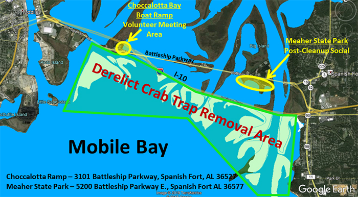 Volunteers Needed for Derelict Crab Trap Cleanup in Mobile Bay on April 19-20