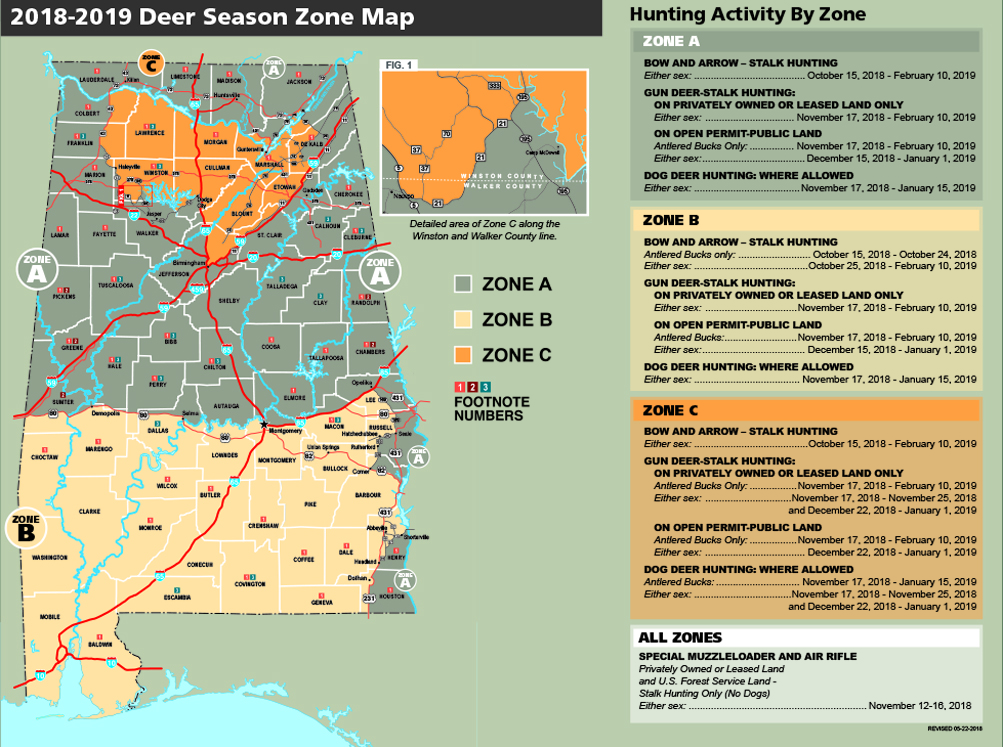 Gun Laws By State Map 2018.Deer Season Zone Map Outdoor Alabama