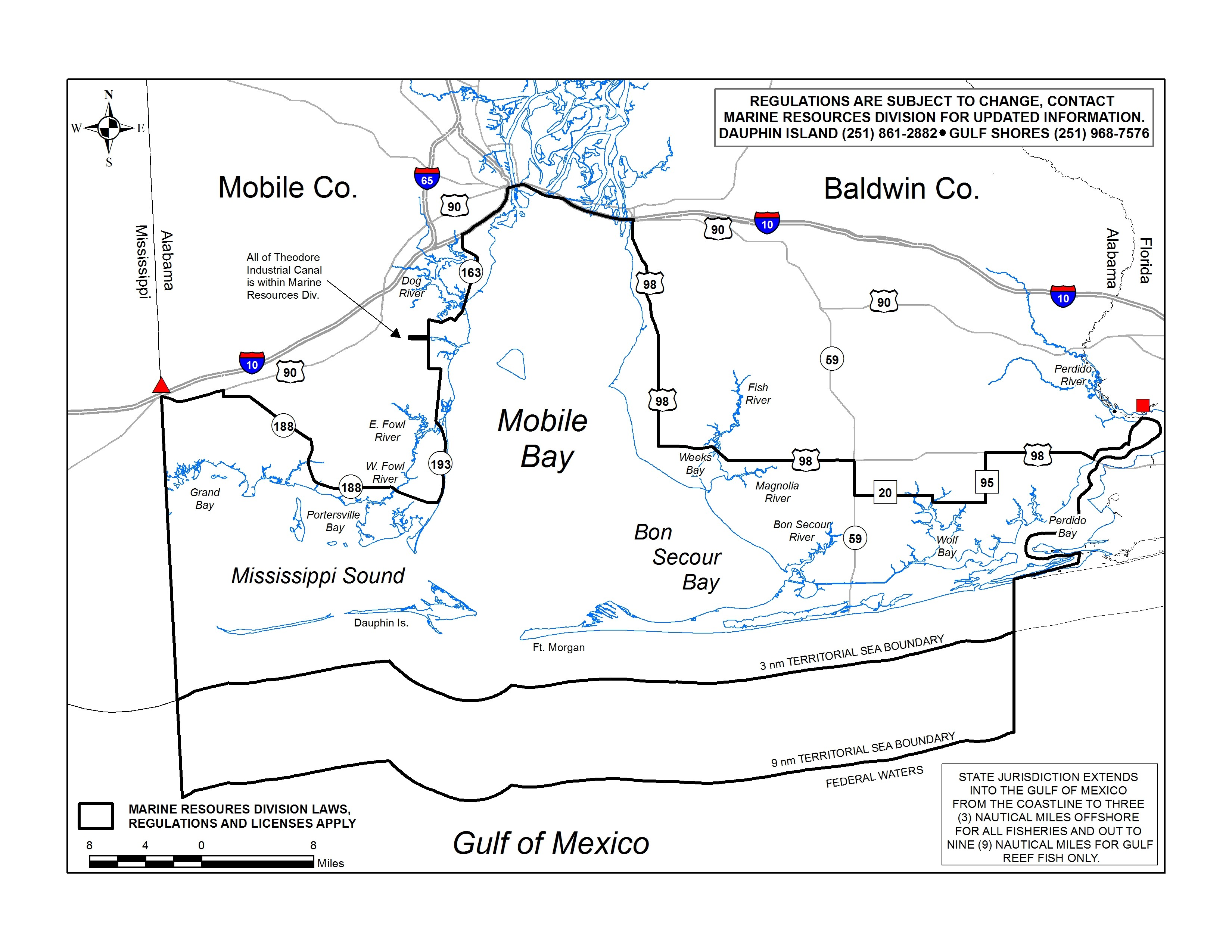Saltwater freshwater license boundary outdoor alabama for Alabama lifetime hunting and fishing license